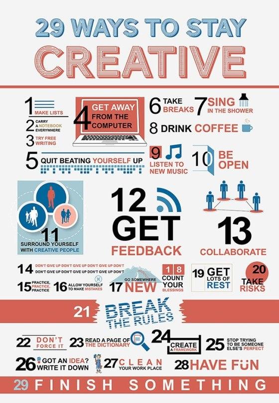 29 ways to stay CREATIVE!!